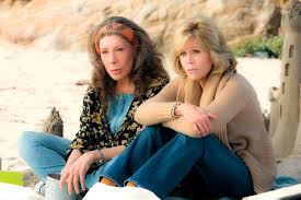 Grace and Frankie at the beach